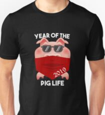 Year of the Pig Life 2019 with Bandana and Shades Thug Life Pig Unisex T-Shirt
