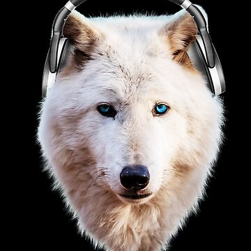 White Queen Wolf HeadPhones Blue Eyes by ratherkool