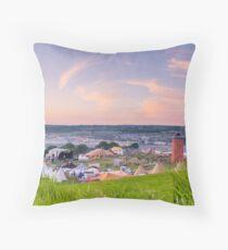 Glastonbury Festival at Sunset Panorama with Tipis Throw Pillow