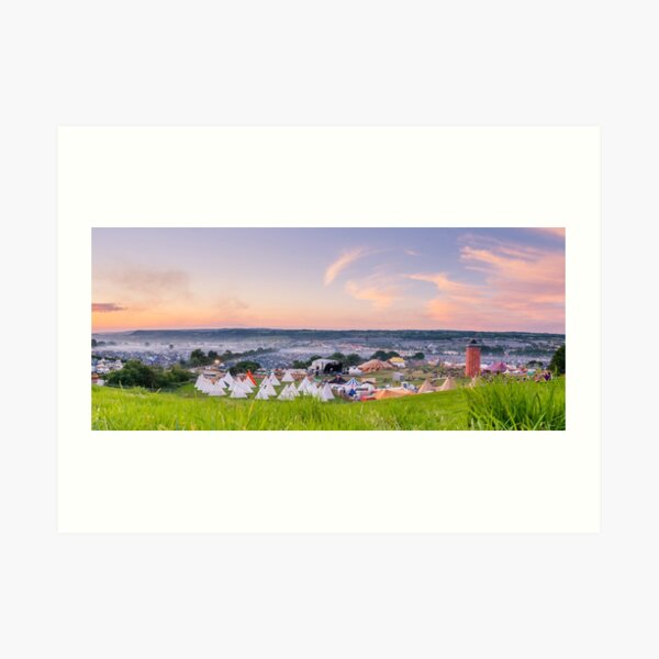 Glastonbury Festival at Sunset Panorama with Tipis Art Print