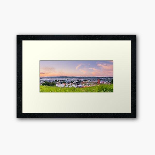 Glastonbury Festival at Sunset Panorama with Tipis Framed Art Print