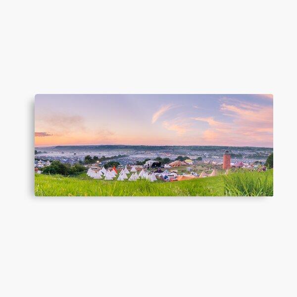 Glastonbury Festival at Sunset Panorama with Tipis Metal Print