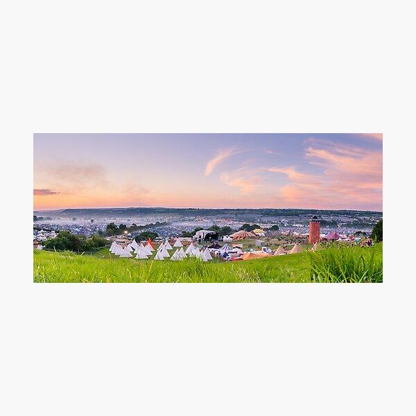 Glastonbury Festival at Sunset Panorama with Tipis Photographic Print