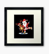Santa with Rudolph Figure Skating Framed Print