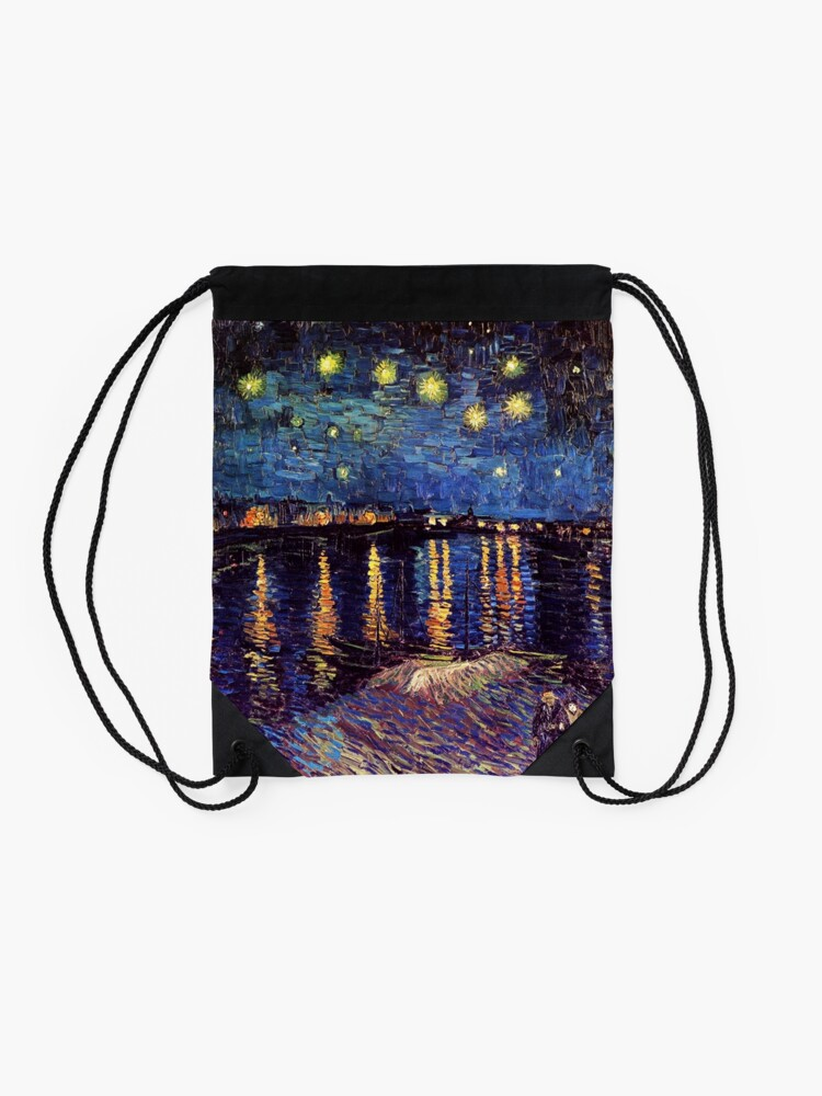 Alternate view of Starry Night over the Rhone, Vincent van Gogh Drawstring Bag