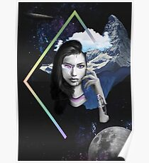 Abstract Robot Space Girl Photo Mashup Collage Poster