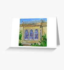 Old Lebanese house with stain glass windows Greeting Card