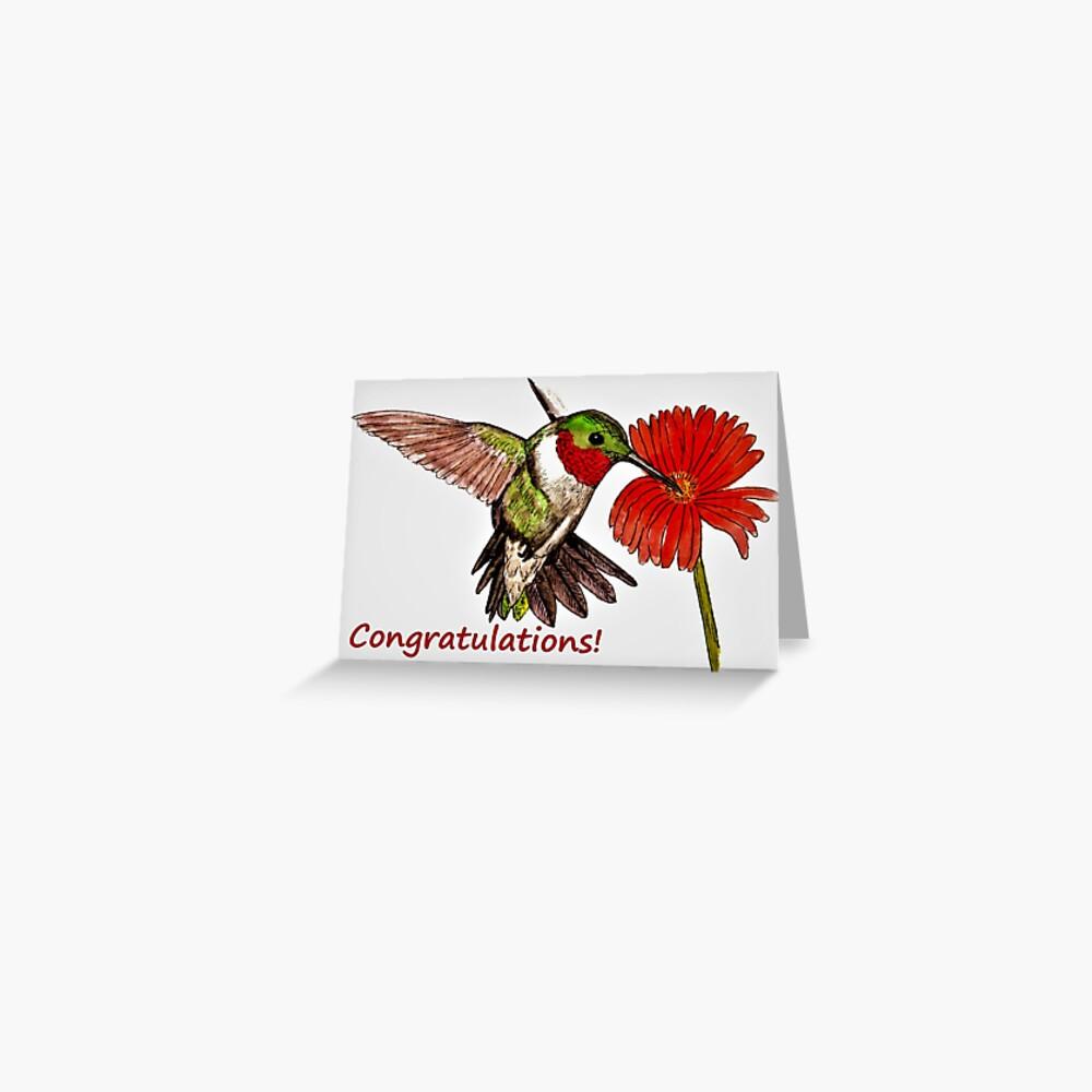 Humming Bird Congratulations Card Greeting Card