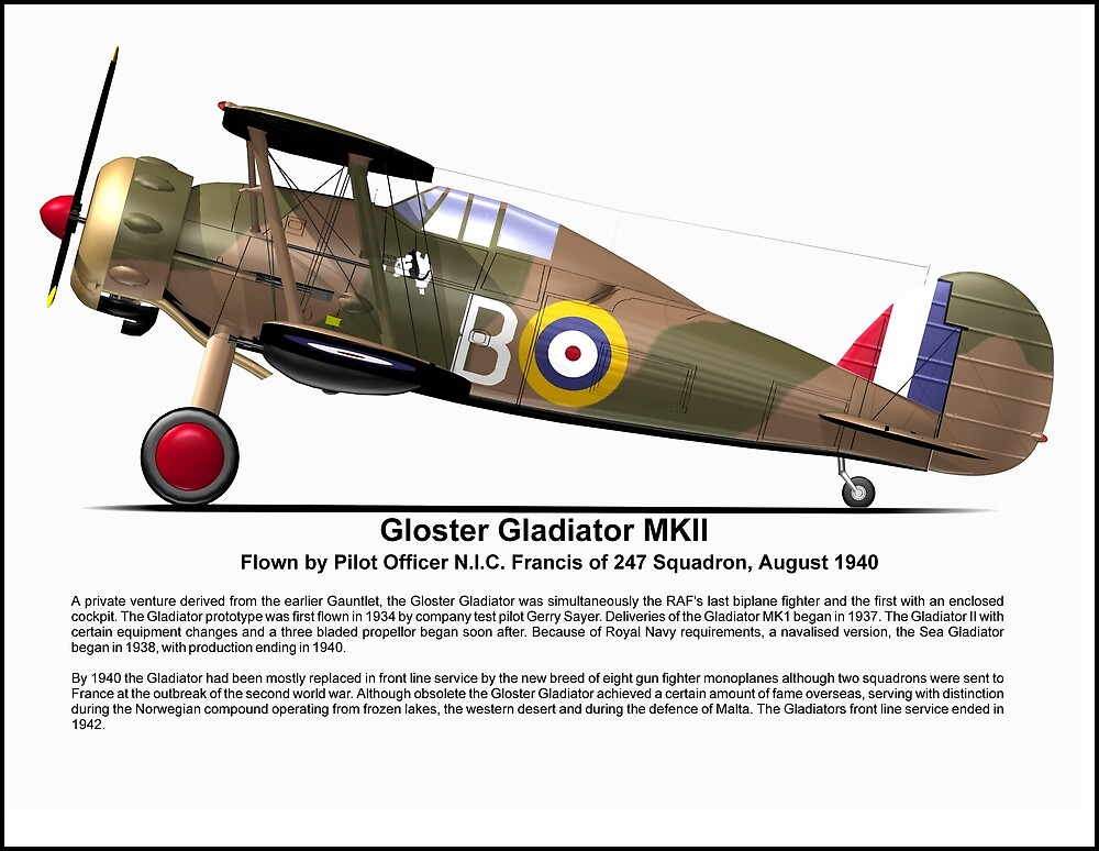 """Gloster Gladiator MKII"" by coldwarwarrior | Redbubble"