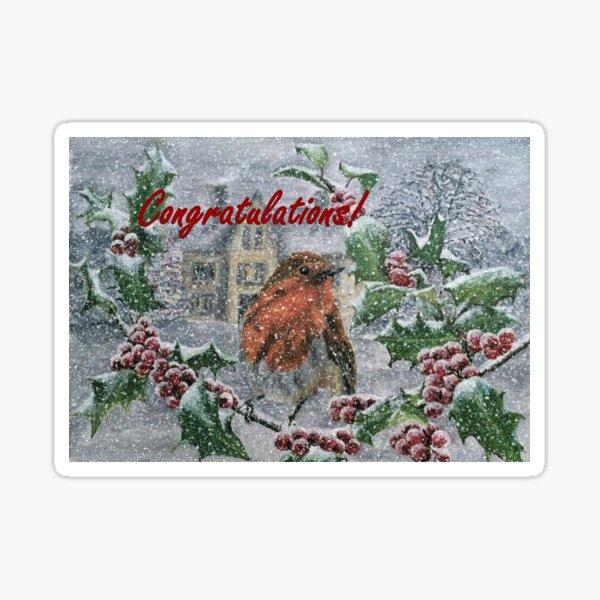 Robin in Snow Congratulations Card Sticker