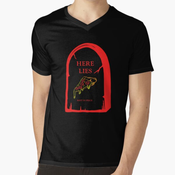 Here Lies Pizza [ Dark Shirts ] V-Neck T-Shirt