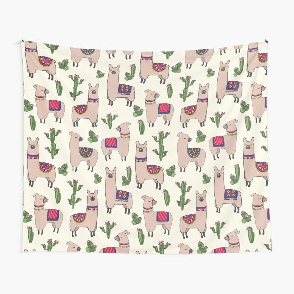 Happy decorated llamas cactus seamless repeat pattern Tapestry