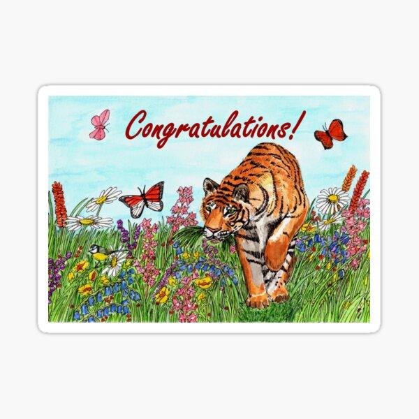 Tiger Congratulations Card Sticker
