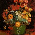 Vase with Zinnias by Van Gogh. Vintage floral oil painting fine art. by naturematters