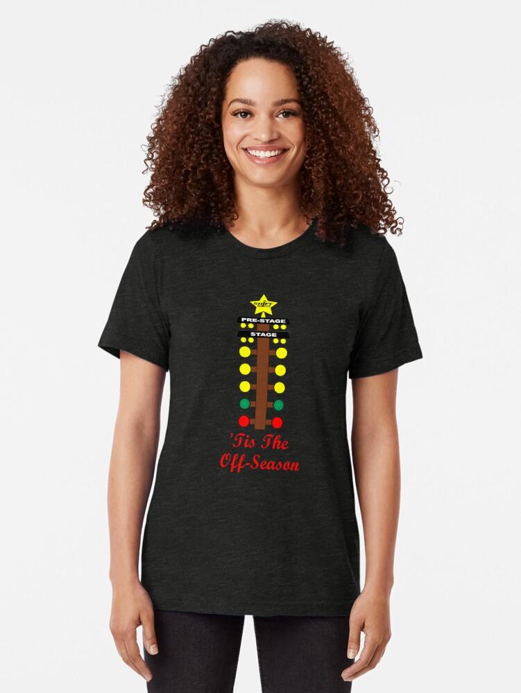 Alternate view of Christmas Tree- Drag Racing Inspired Tri-blend T-Shirt