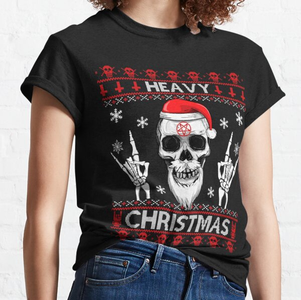 HEAVY CHRISTMAS - Ugly Xmas Sweater - HEAVY DEATH BLACK METAL Rocker Rock Horns Classic T-Shirt