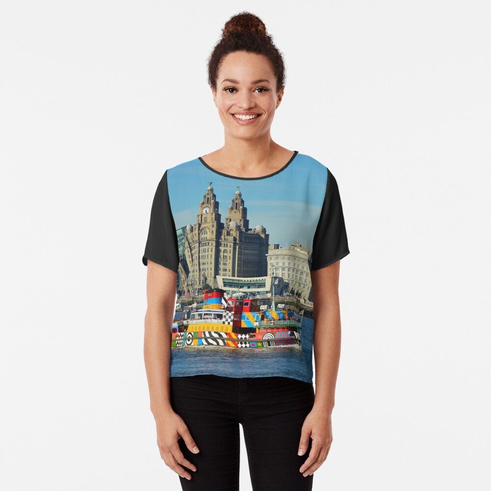 Liverpool Waterfront and Mersey Ferry Chiffon Top