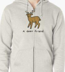 A Deer Friend Zipped Hoodie