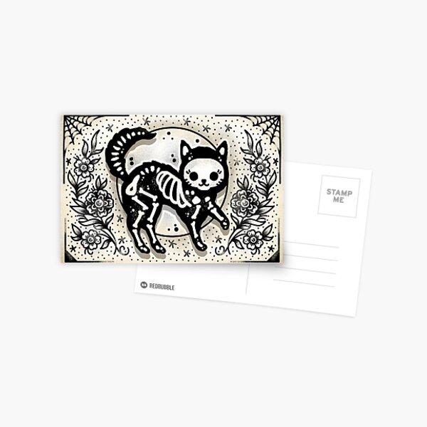 Jellybean Skeleton Cat Cute Traditional Tattoo Flash Postcard