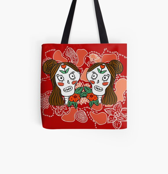 Calavera Sisters Frenchtoastygood All Over Print Tote Bag