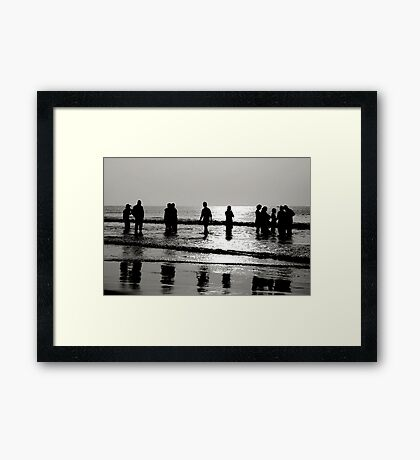 Silhouettes at Puri Sea Beach Framed Print