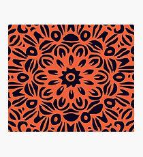 Floral Burst, Dark Blue & Orange Mandala 1 Photographic Print