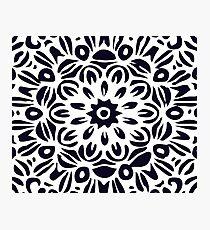 Floral Burst, Dark Blue & White Mandala 2 Photographic Print