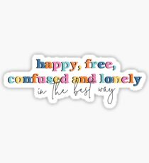 22 Sticker, 22 Taylor Swift, Happy Free Confused and Lonely Sticker