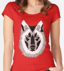 Black White Wolf Design  Women's Fitted Scoop T-Shirt
