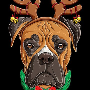 Boxer Christmas shirt Reindeer Antlers Dog Xmas Girls Kids by LiqueGifts
