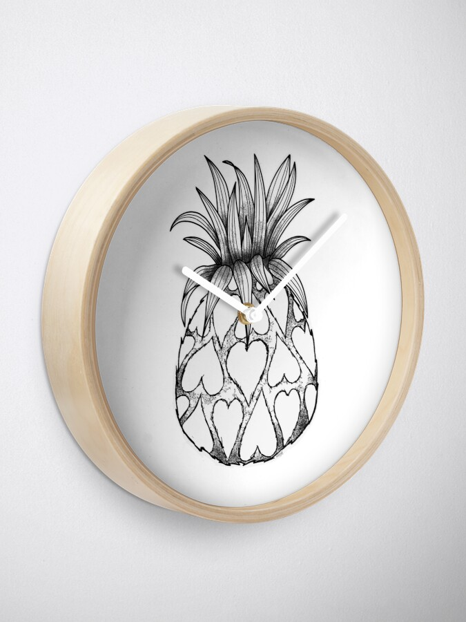 Alternate view of Just add Colour - Love Pineapple! Clock