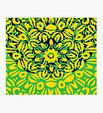 Floral Burst, Yellow, Green & Dark Blue Mandala 6 Photographic Print