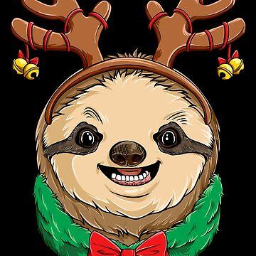 Sloth Christmas shirt Reindeer Antlers Slothmas Xmas Girls by LiqueGifts