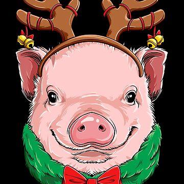 Pig Christmas shirt Reindeer Antlers Pigmas Xmas Girls Kids by LiqueGifts