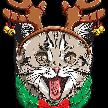Cat Christmas shirt Reindeer Antlers Catmas Xmas Girls Kids by LiqueGifts