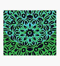 Floral Burst, Dark Blue, Turquoise & Green Mandala 10 Photographic Print