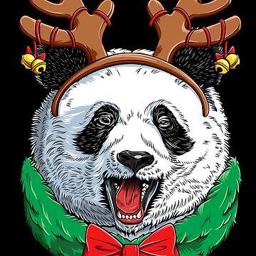 Panda Christmas shirt Reindeer Antlers Bear Xmas Girls Kids by LiqueGifts