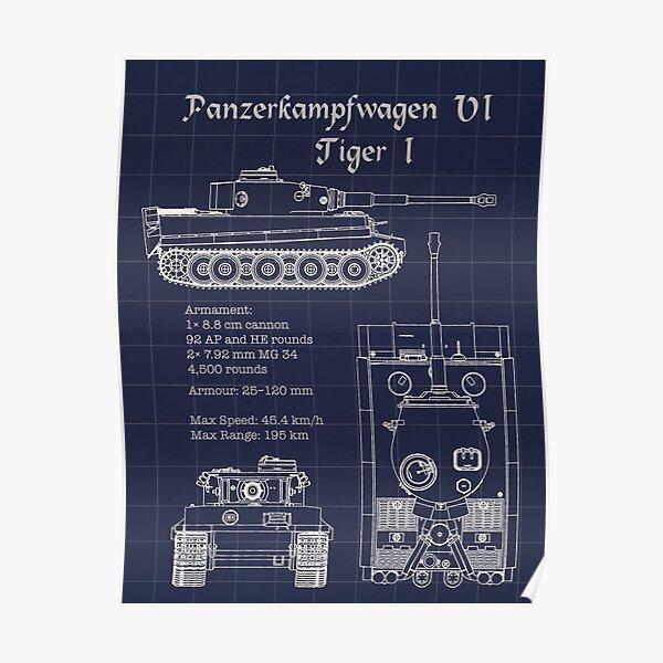 Panzerkampfwagen VI Tiger I Blueprint Poster