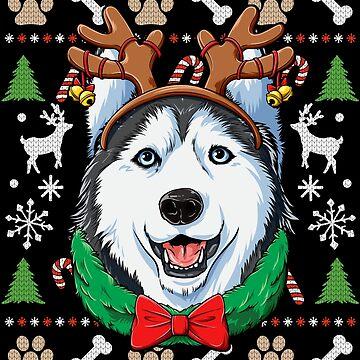 Siberian Husky Christmas Shirt Reindeer Antlers Dog Girls by LiqueGifts
