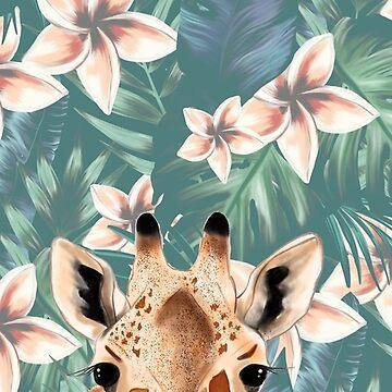 Giraffe Frangipani Iphone Case by Kalaiicreations