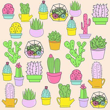 Sukkulenten-Kaktus-Pastellmuster von lunaelizabeth