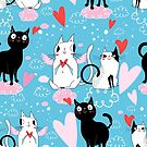 Bright funny pattern love cats  by Tanor