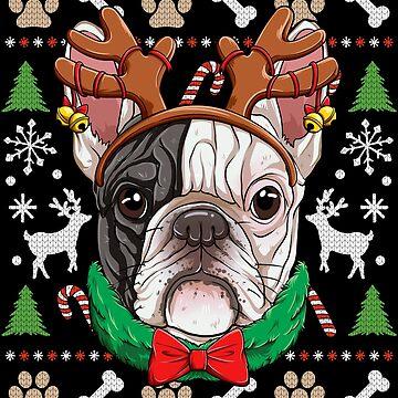 French Bulldog Christmas Shirt Reindeer Antlers Dog Girls by LiqueGifts