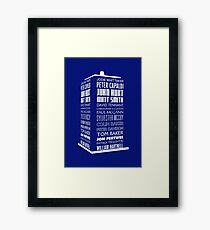 Police Box Names - Reverse Chronological Whittaker to Hartnell in white Framed Print