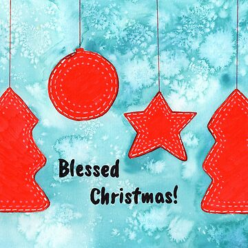 Watercolor Art | Blessed Christmas Greetings by coloringiship