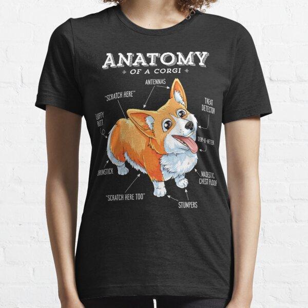 Anatomía de una camiseta de Corgi Camisa divertida del perrito del perro de Corgis Camiseta esencial