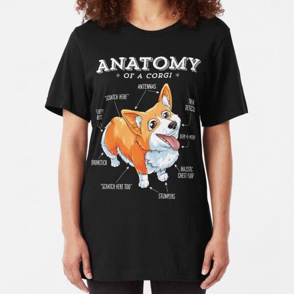 Anatomy of a Corgi T-Shirt Funny Corgis Dog Puppy Shirt Slim Fit T-Shirt
