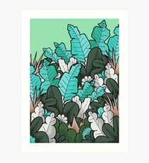 Green jungle leaves Art Print