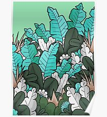 Green jungle leaves Poster