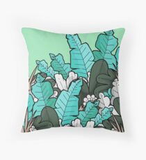 Green jungle leaves Throw Pillow
